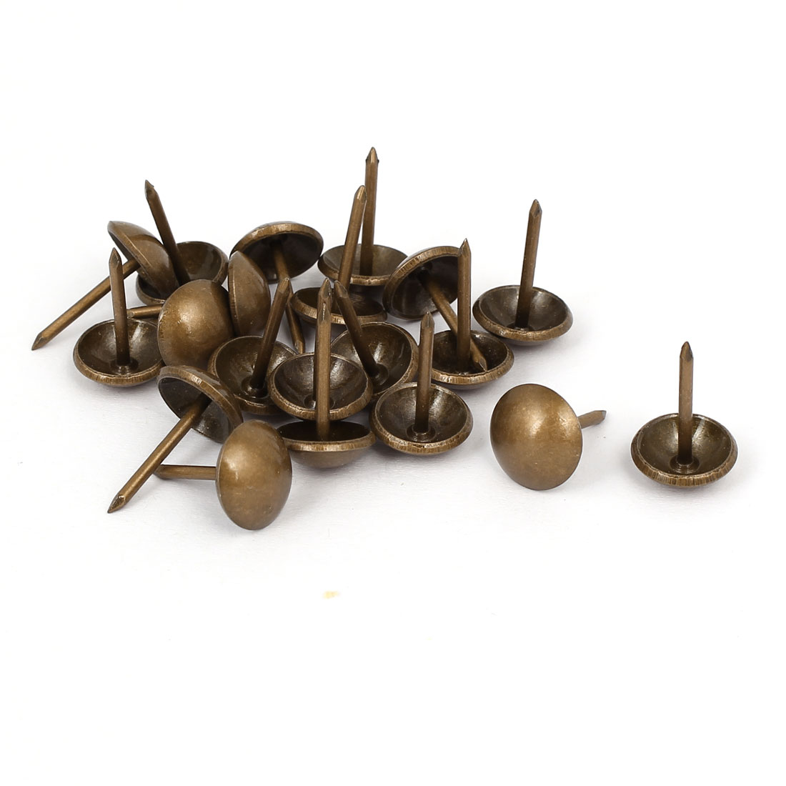 11mm Head Dia 17mm Height Upholstery Nail Thumb Tacks Push Pin Copper Tone 20pcs