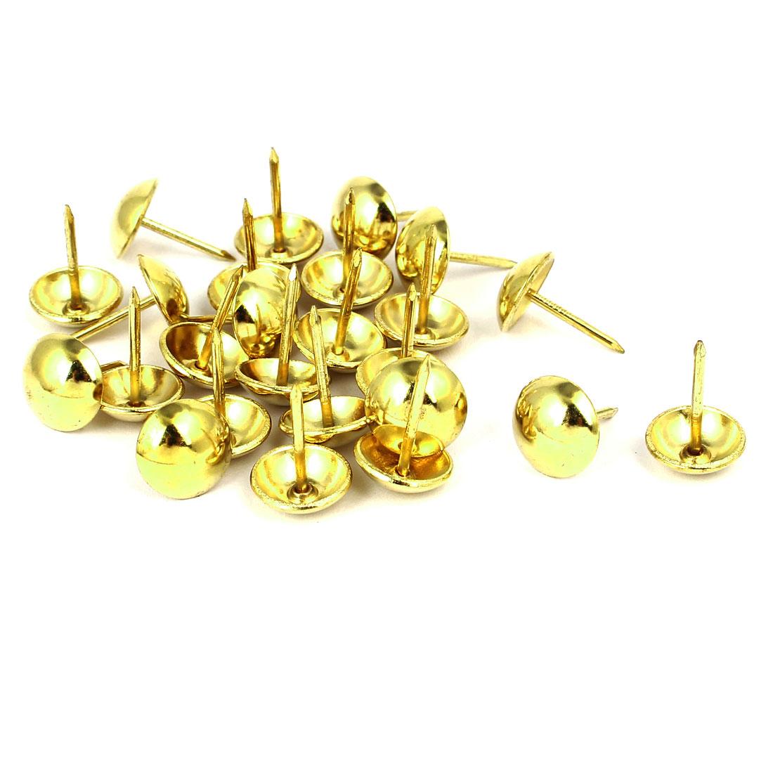 Home Furniture Upholstery Thumb Tack Nail Push Pin Gold Tone 12mm x 17mm 25pcs