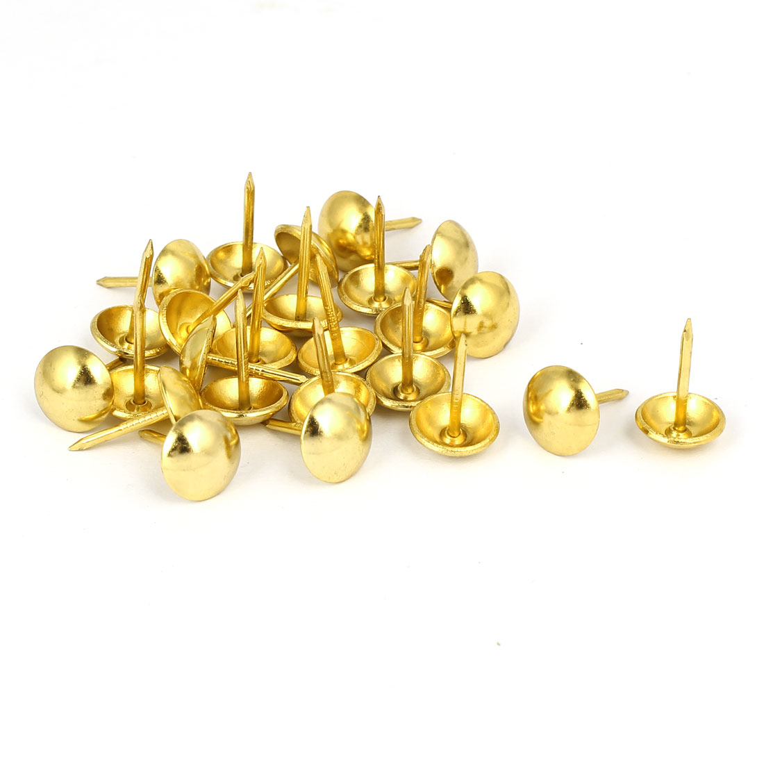 Home Furniture Upholstery Thumb Tack Nail Push Pin Gold Tone 11mm x 17mm 25pcs