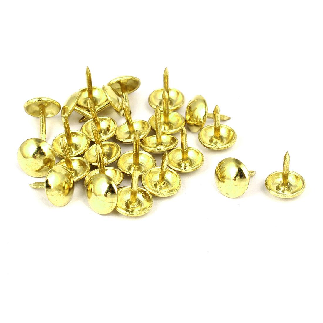Home Furniture Upholstery Thumb Tack Nail Push Pin Gold Tone 9mm x 11mm 25pcs