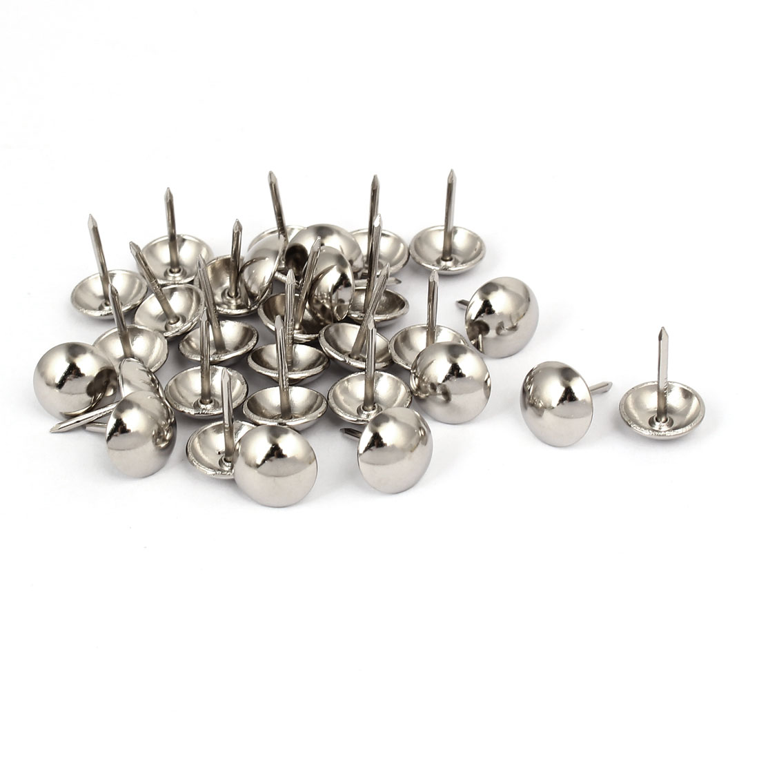 12mm Head Dia 17mm Height Upholstery Nail Thumb Tacks Push Pin Silver Tone 30pcs