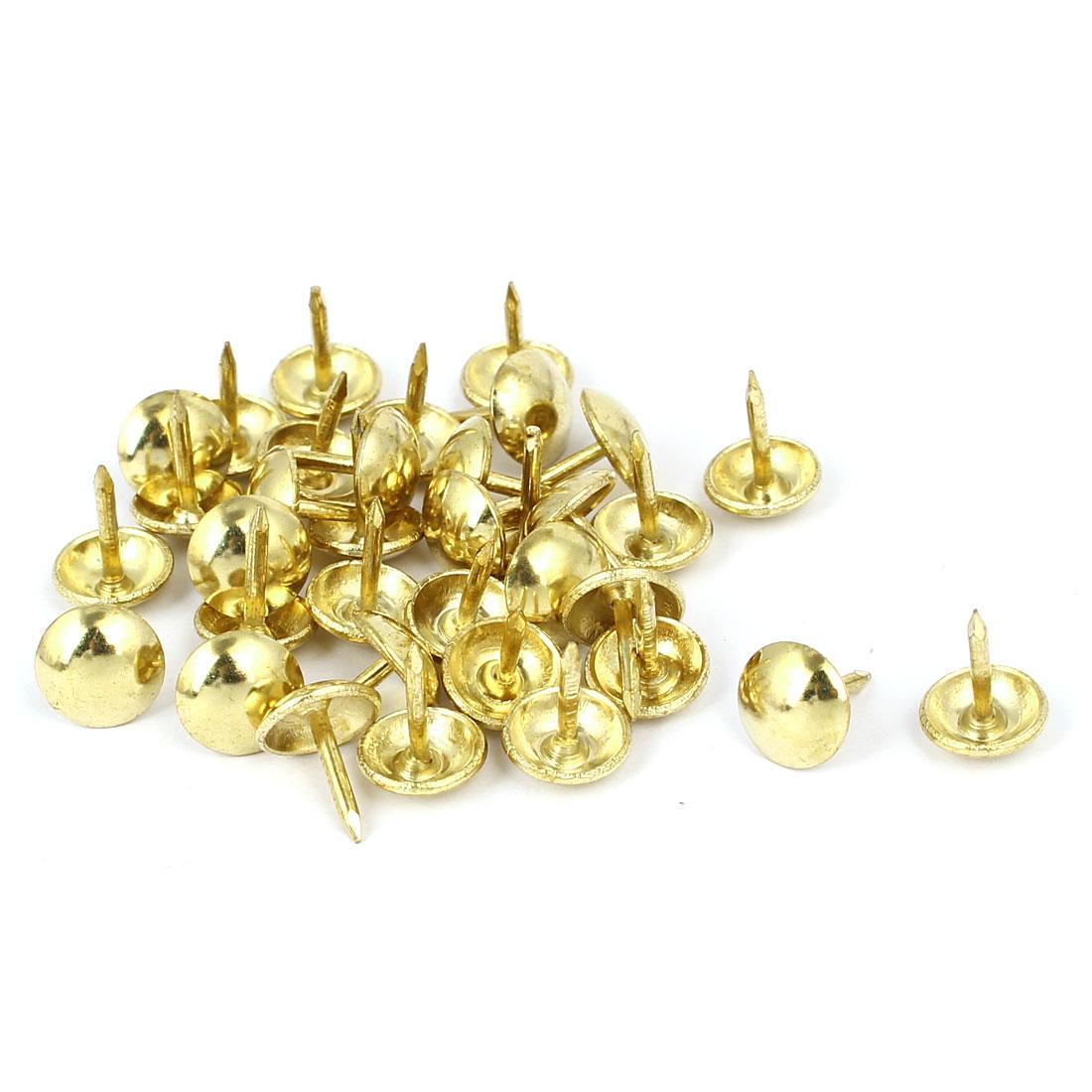 Home Furniture Upholstery Thumb Tack Nail Push Pin Gold Tone 9mm x 11mm 35pcs