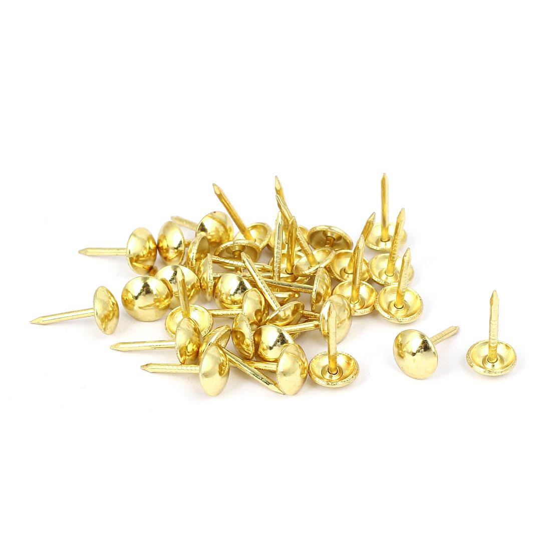 Home Furniture Upholstery Thumb Tack Nail Push Pin Gold Tone 8mm x 15mm 35pcs