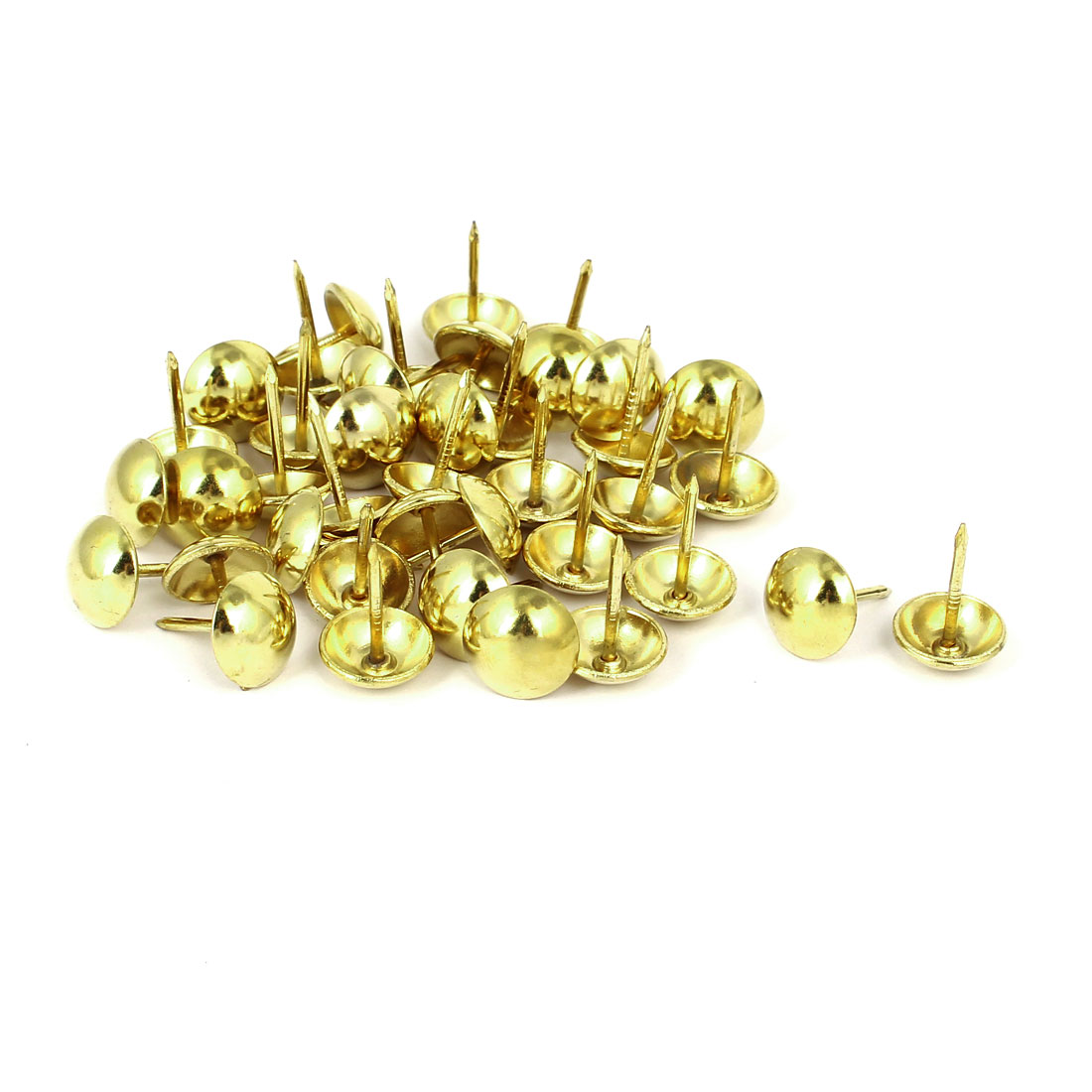 Home Furniture Upholstery Thumb Tack Nail Push Pin Gold Tone 12mm x 17mm 40pcs