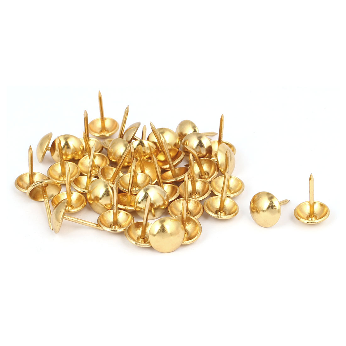 "7/16"" Head Dia 17mm Height Upholstery Tack Nail Push Pin Gold Tone 40pcs"