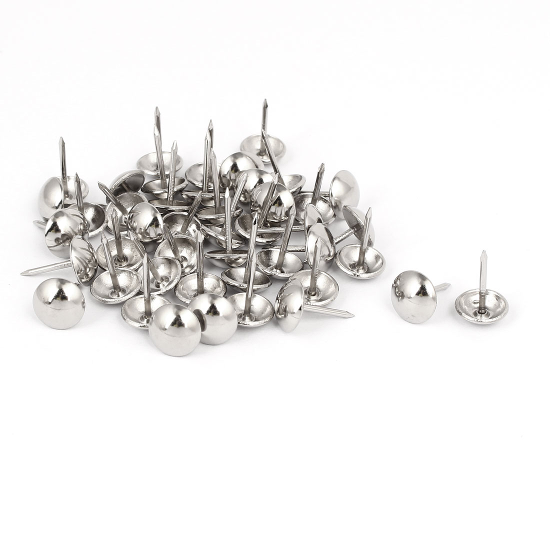 "7/16"" Head Dia 17mm Height Upholstery Nail Thumb Tacks Push Pin Silver Tone 45pcs"