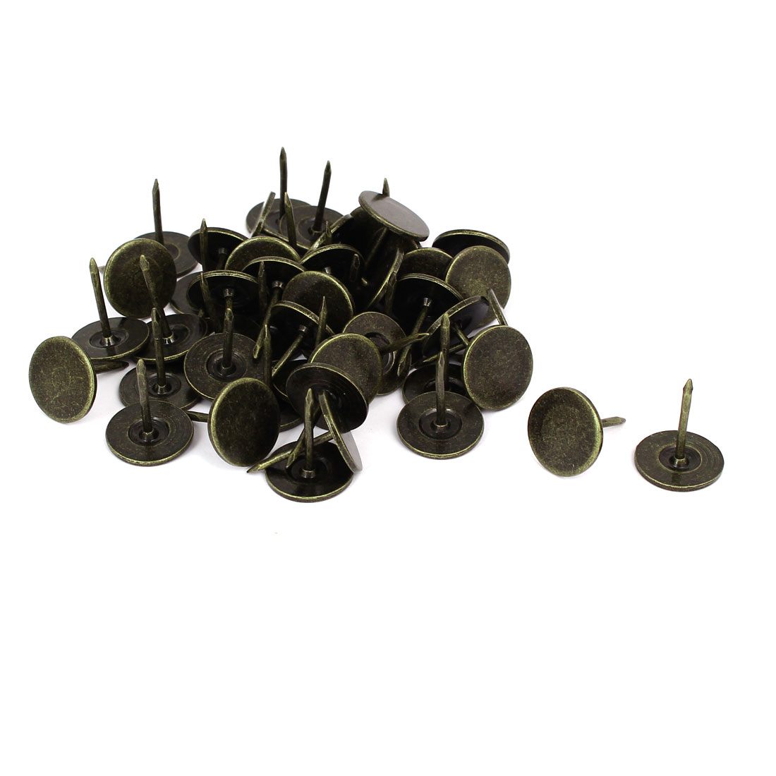 16mm Dia 20mm Height Round Flat Head Upholstery Tack Nail Bronze Tone 50pcs