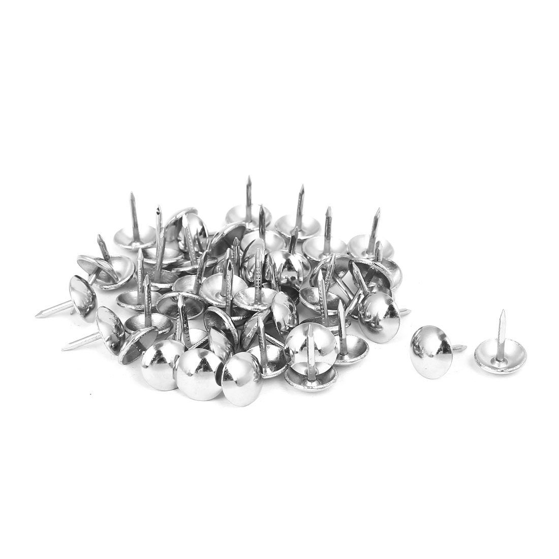 10mm Head Dia 13mm Height Upholstery Nail Thumb Tacks Push Pin Silver Tone 50pcs