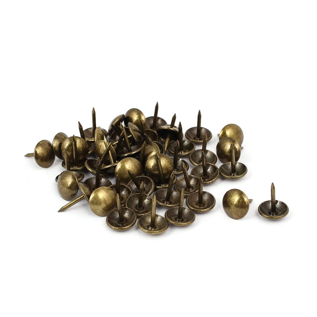 Leather Sofa Round Head Upholstery Tack Nail Bronze Tone 10mm x 13mm 50pcs
