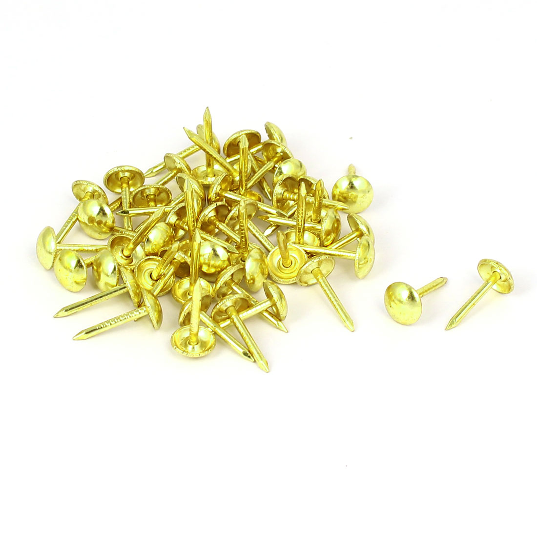 Leather Sofa Round Head Upholstery Tack Nail Gold Tone 7mm x 14mm 50pcs