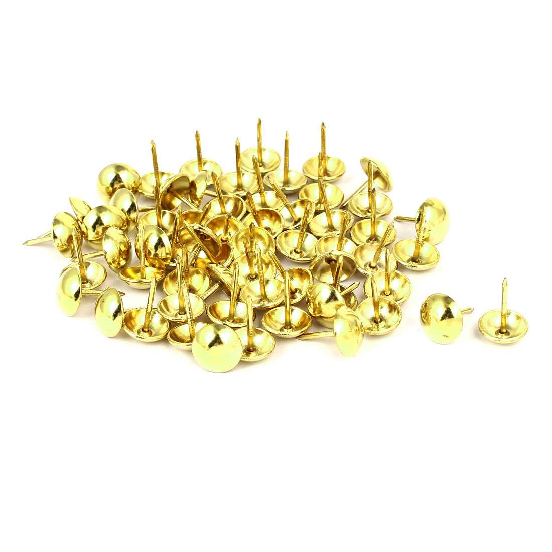 Home Furniture Upholstery Thumb Tack Nail Push Pin Gold Tone 12mm x 17mm 60pcs