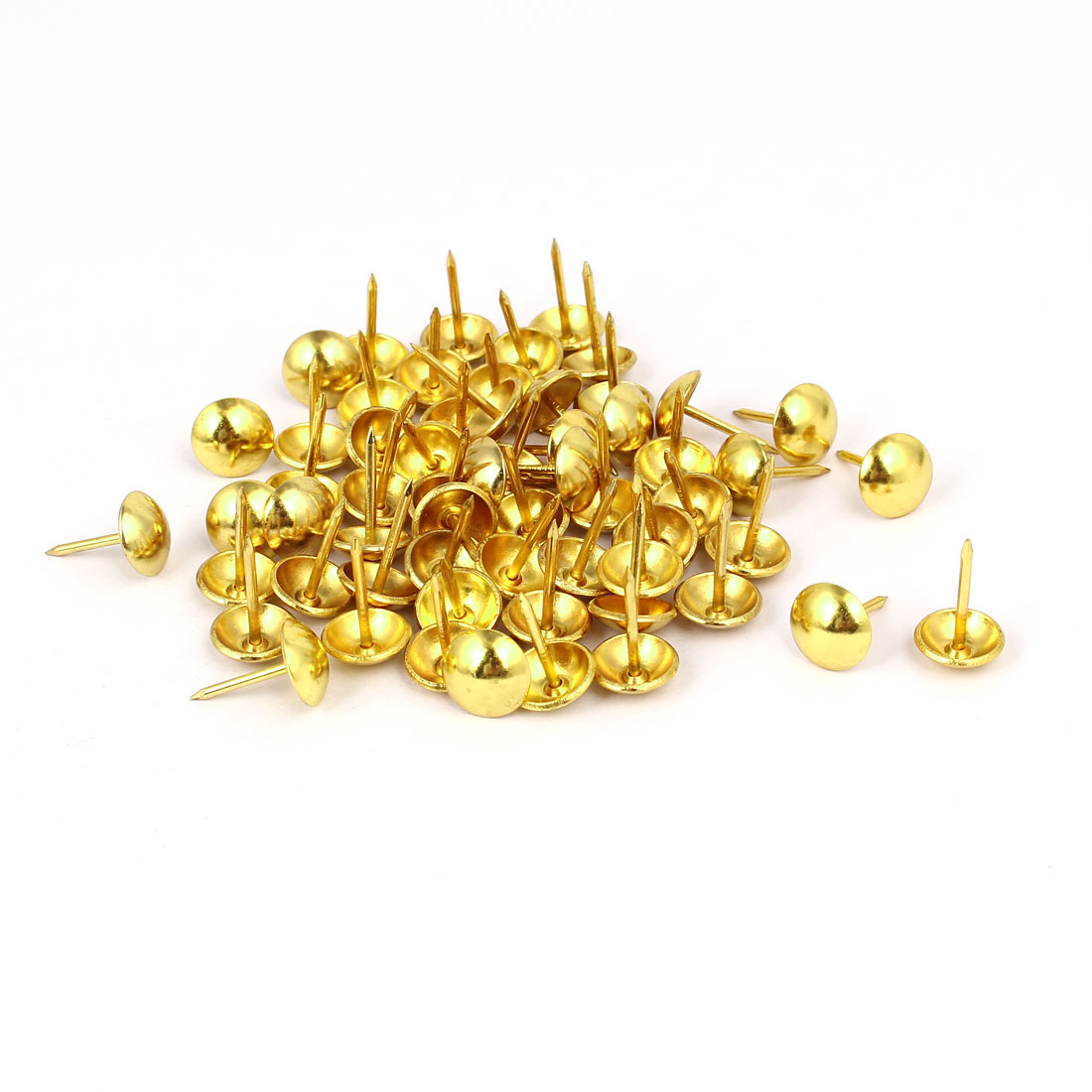 Home Furniture Upholstery Thumb Tack Nail Push Pin Gold Tone 11mm x 17mm 60pcs