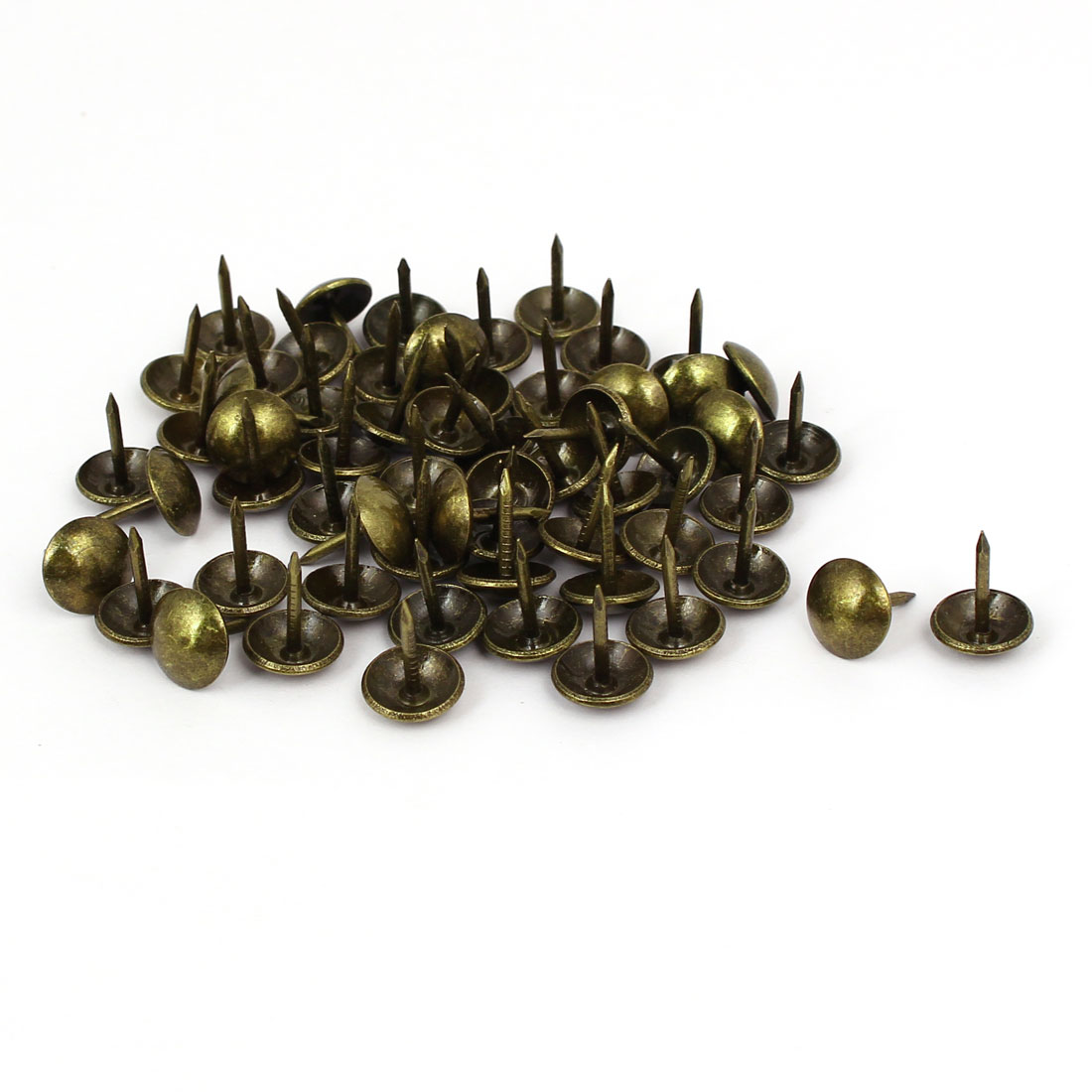 Leather Sofa Round Head Upholstery Tack Nail Bronze Tone 10mm x 13mm 60pcs