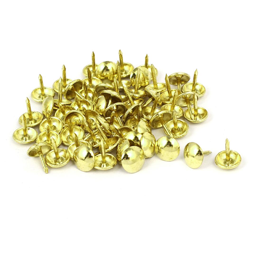 Home Furniture Upholstery Thumb Tack Nail Push Pin Gold Tone 9mm x 11mm 60pcs