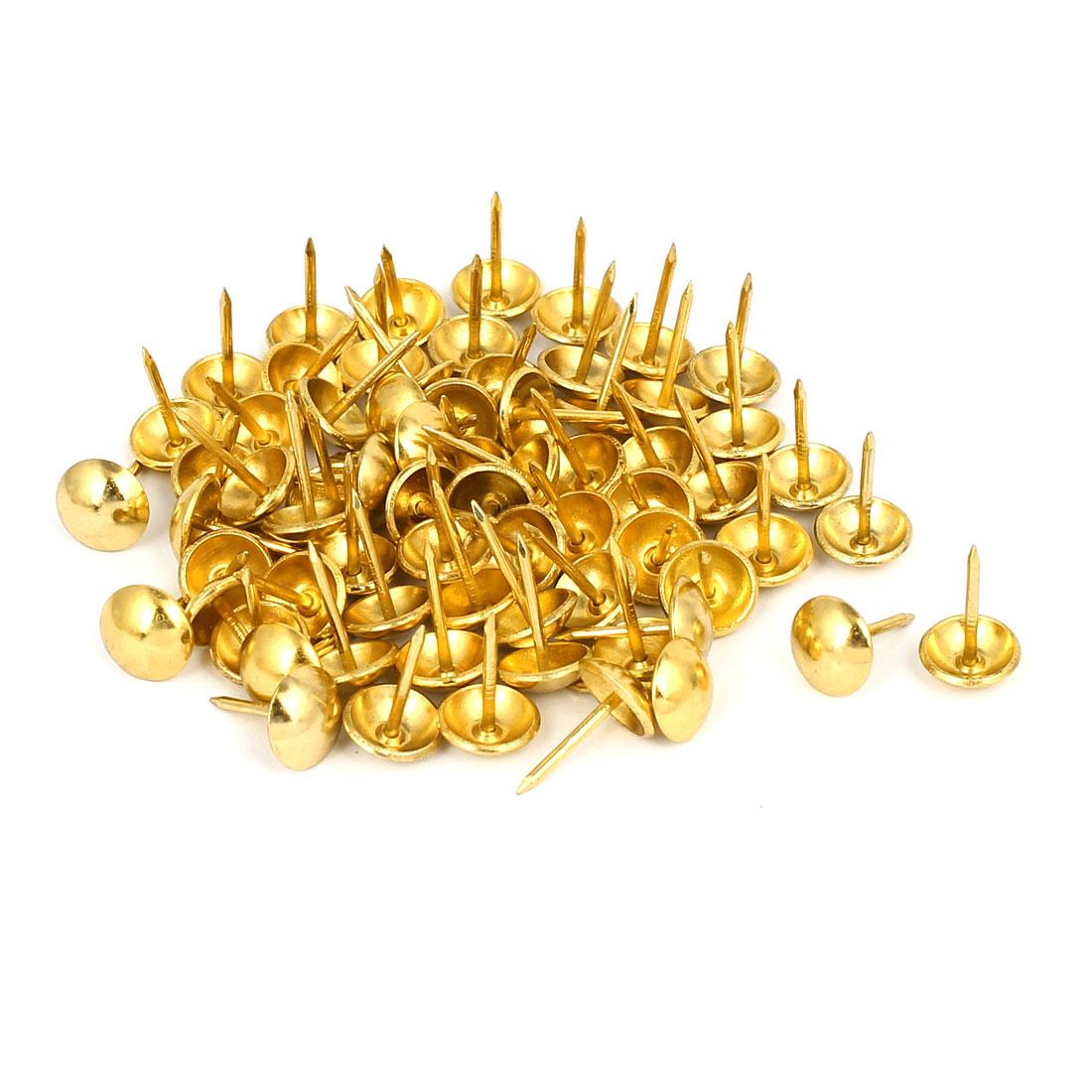 "7/16"" Head Dia 17mm Height Upholstery Tack Nail Push Pin Gold Tone 80pcs"