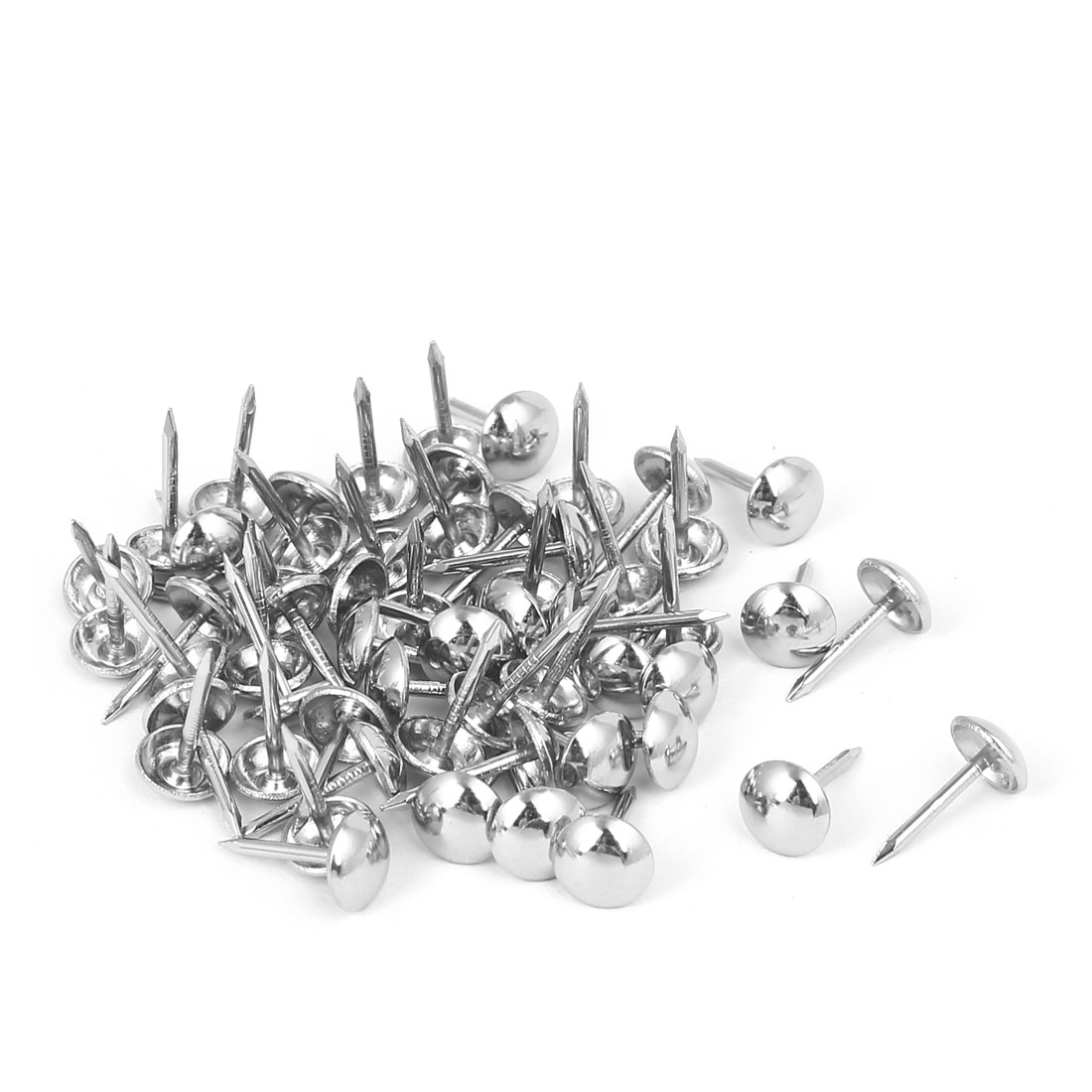 8mm Head Dia 15mm Height Upholstery Nail Thumb Tack Push Pin Silver Tone 80pcs