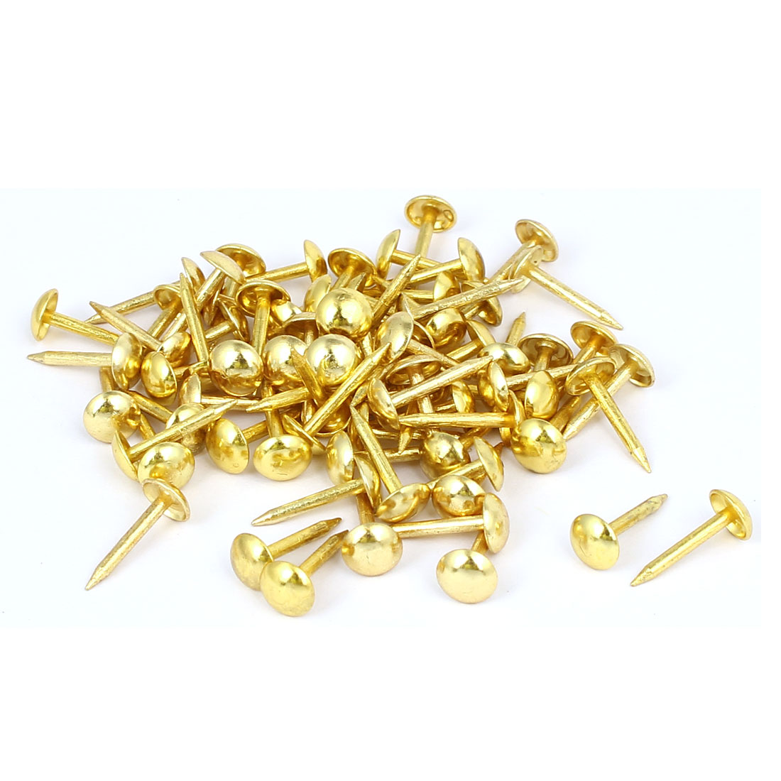 Home Furniture Upholstery Thumb Tack Nail Push Pin Gold Tone 6mm x 14mm 80pcs