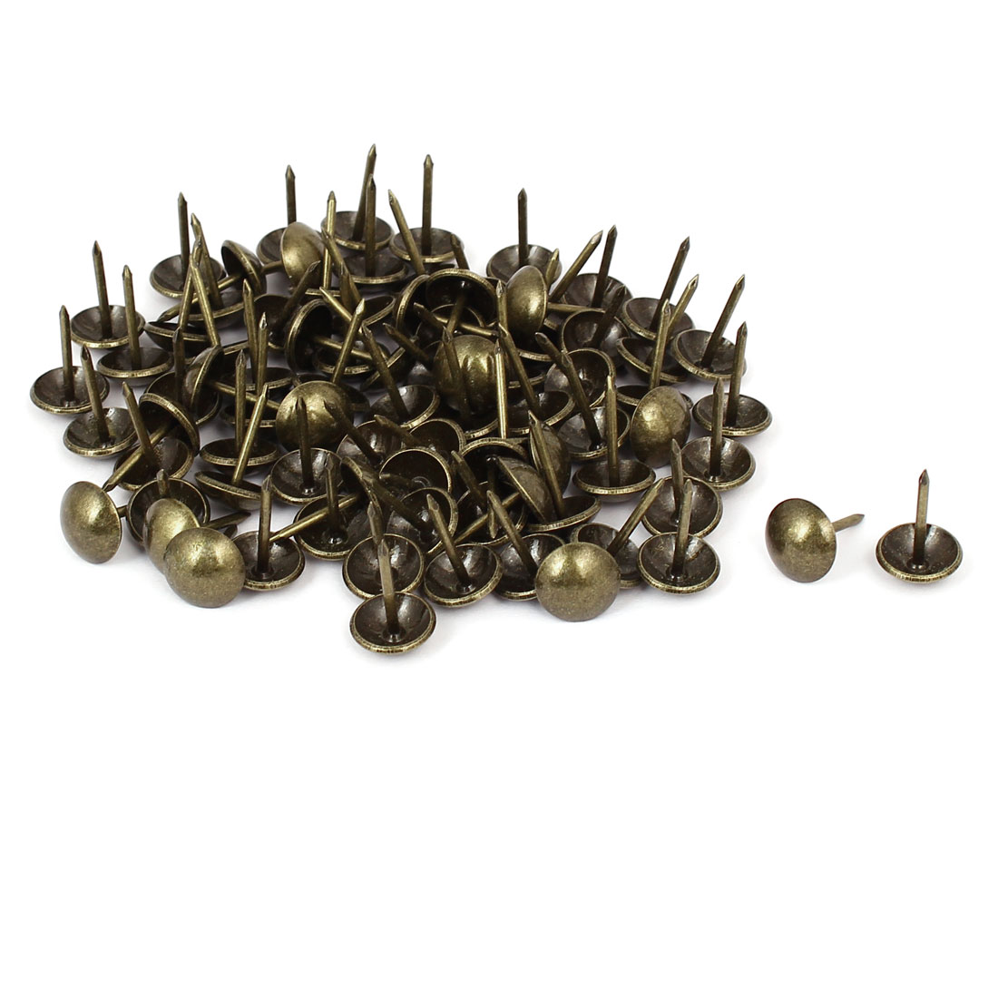 "7/16"" Head Dia 17mm Height Upholstery Tack Nail Push Pin Bronze Tone 100pcs"