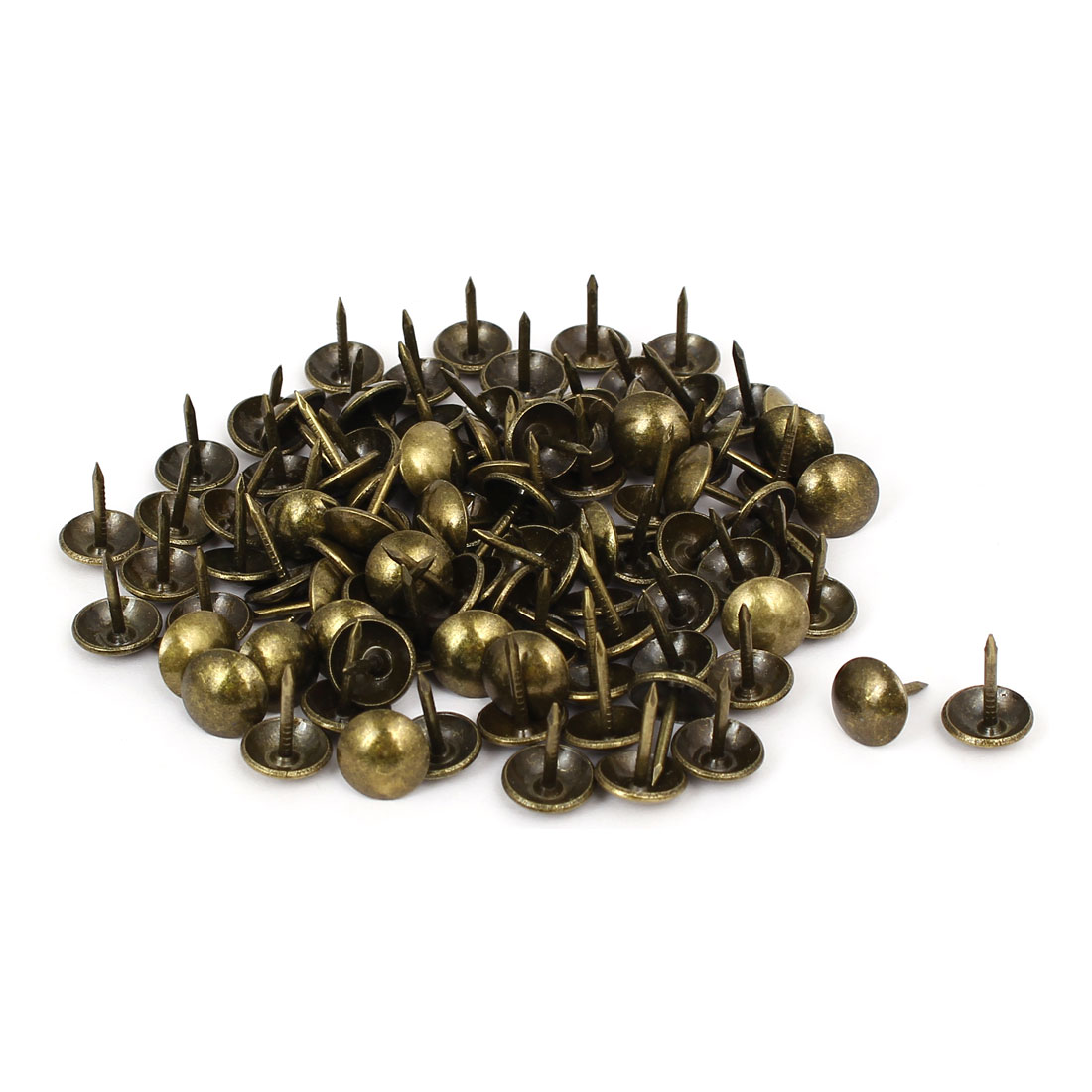 Leather Sofa Round Head Upholstery Tack Nail Bronze Tone 10mm x 13mm 100pcs