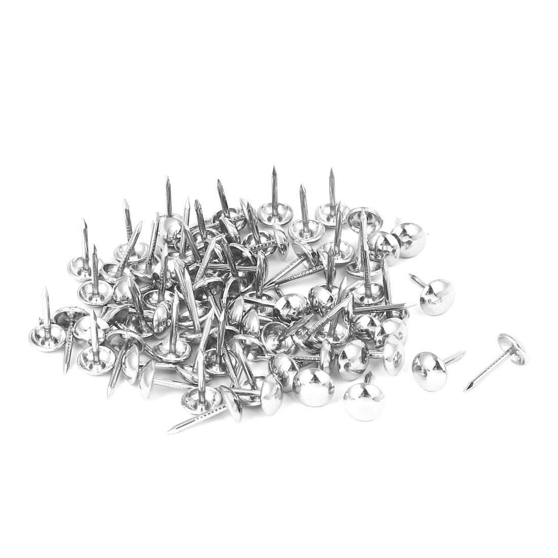 8mm Head Dia 15mm Height Upholstery Nail Thumb Tack Push Pin Silver Tone 100pcs