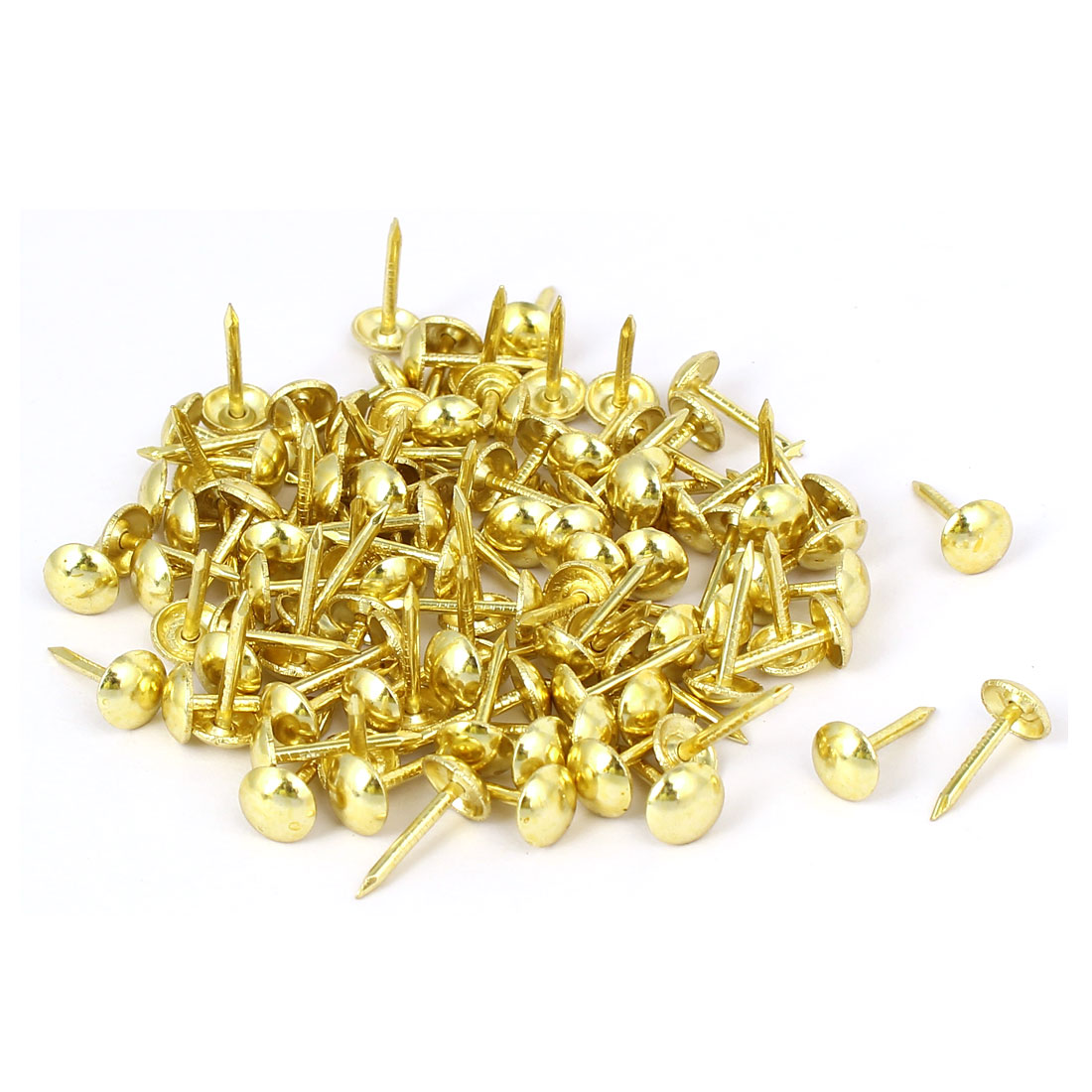 Leather Sofa Round Head Upholstery Tack Nail Push Pin Gold Tone 7mmx14mm 100pcs