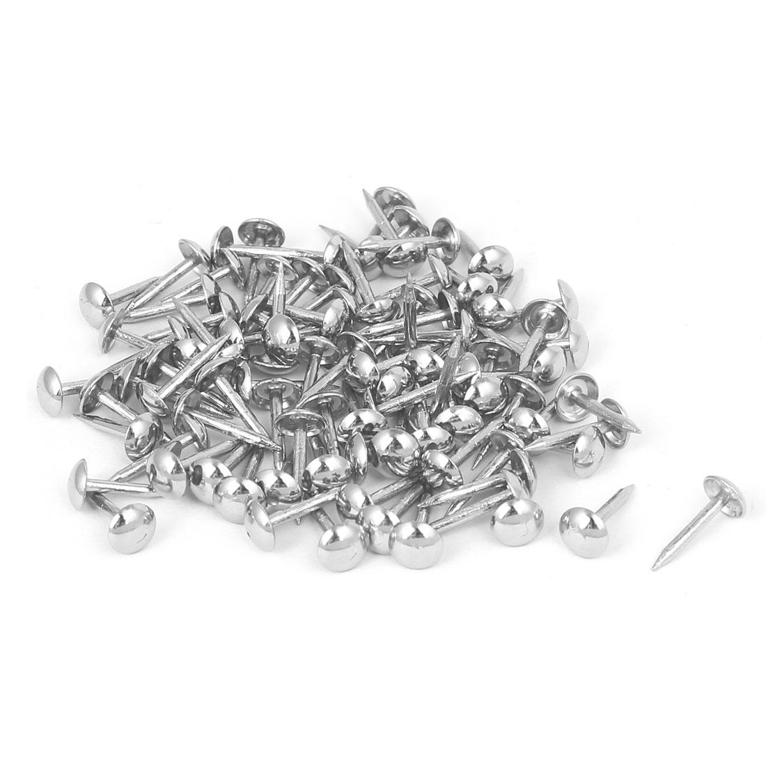 Home Furniture Upholstery Thumb Tack Nail Push Pin Silver Tone 6mm x 14mm 100pcs