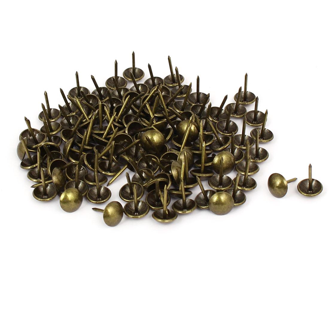 "7/16"" Head Dia 17mm Height Upholstery Tack Nail Push Pin Bronze Tone 120pcs"