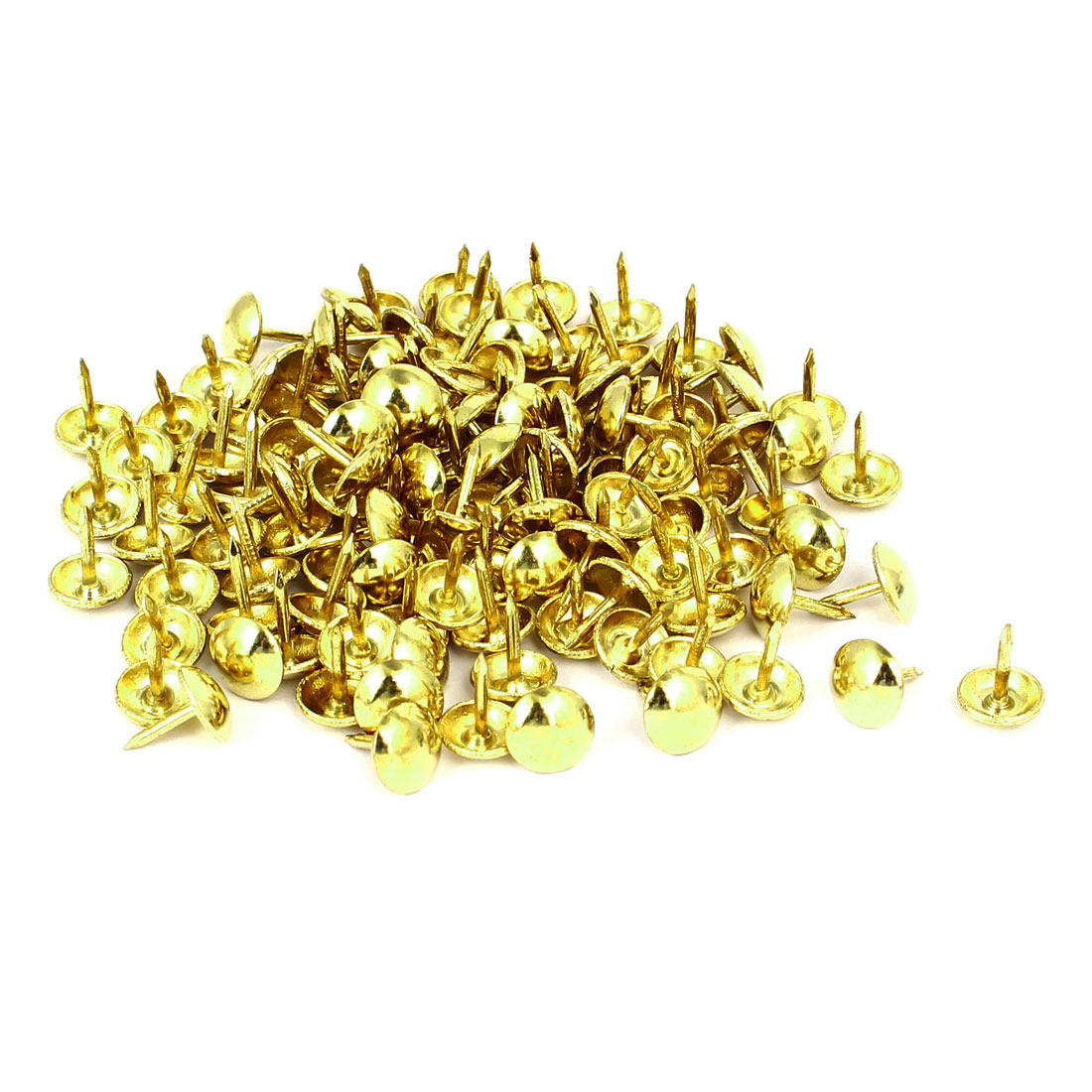 Home Furniture Upholstery Thumb Tack Nail Push Pin Gold Tone 9mm x 11mm 120pcs