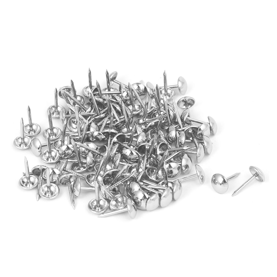 8mm Head Dia 15mm Height Upholstery Nail Thumb Tack Push Pin Silver Tone 120pcs