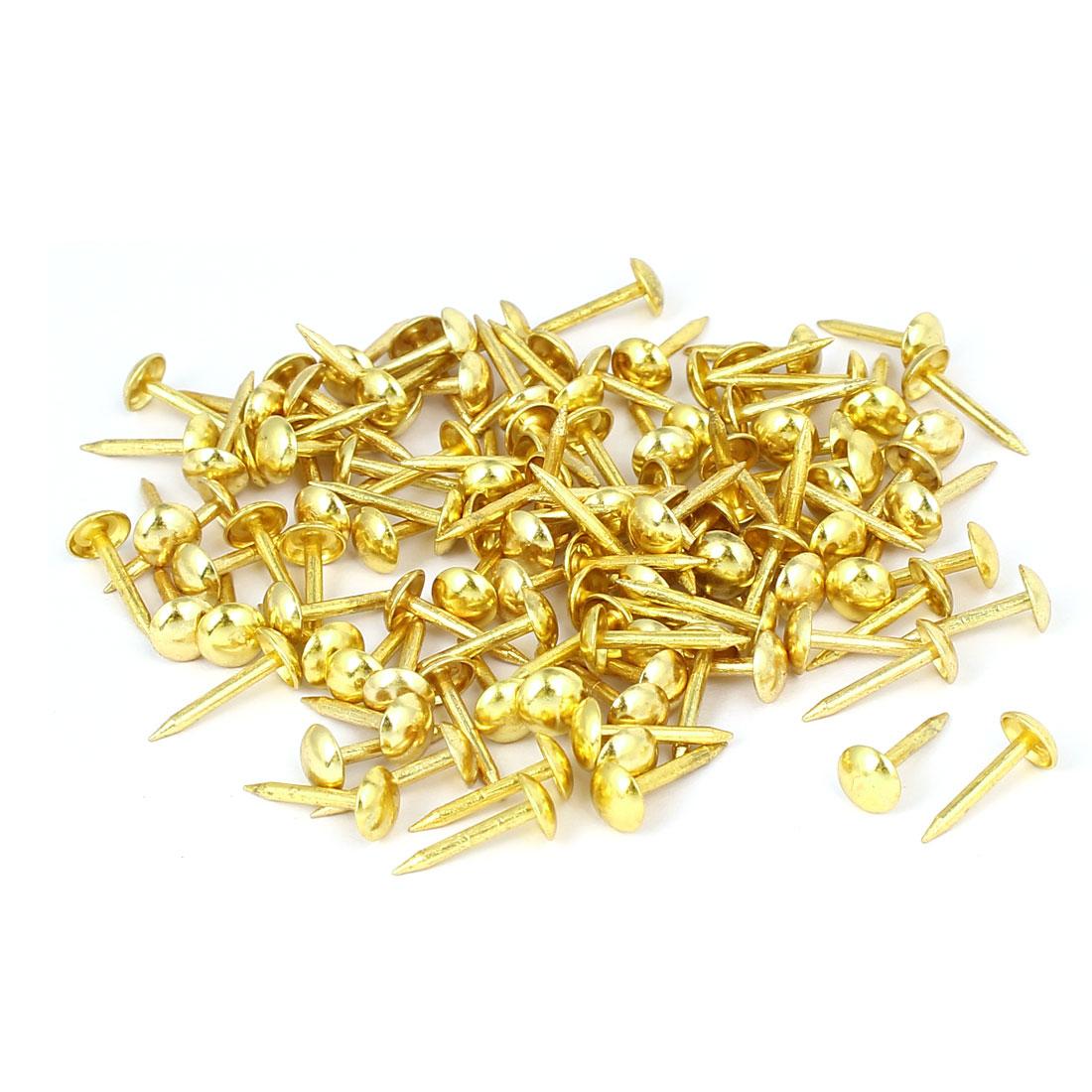 Home Furniture Upholstery Thumb Tack Nail Push Pin Gold Tone 6mm x 14mm 120pcs