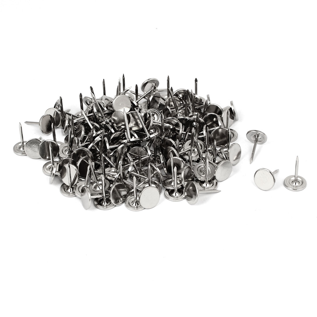 "7/16"" Dia 17mm Height Round Flat Head Upholstery Tack Nail Silver Tone 150pcs"