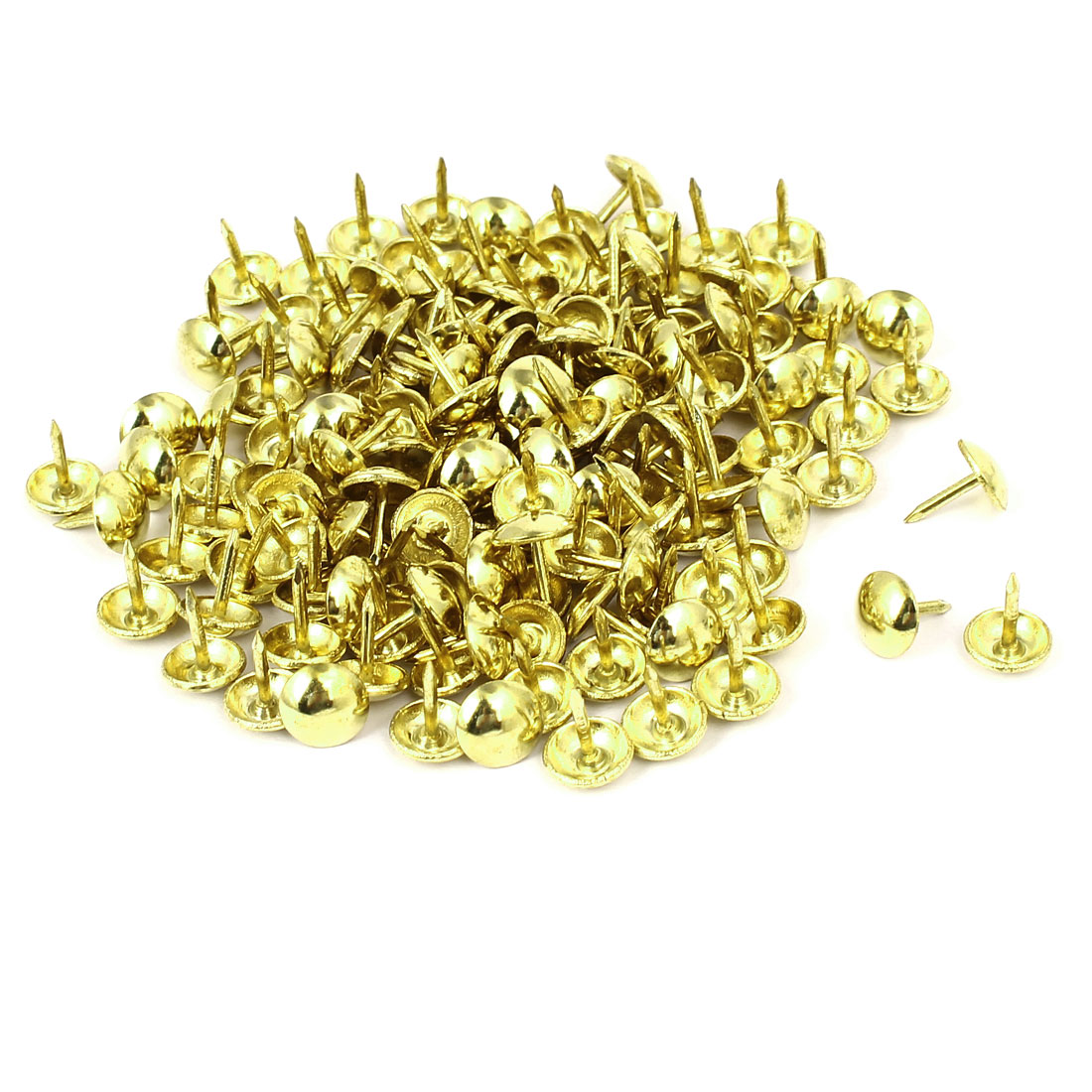 Home Furniture Upholstery Thumb Tack Nail Push Pin Gold Tone 9mm x 11mm 150pcs