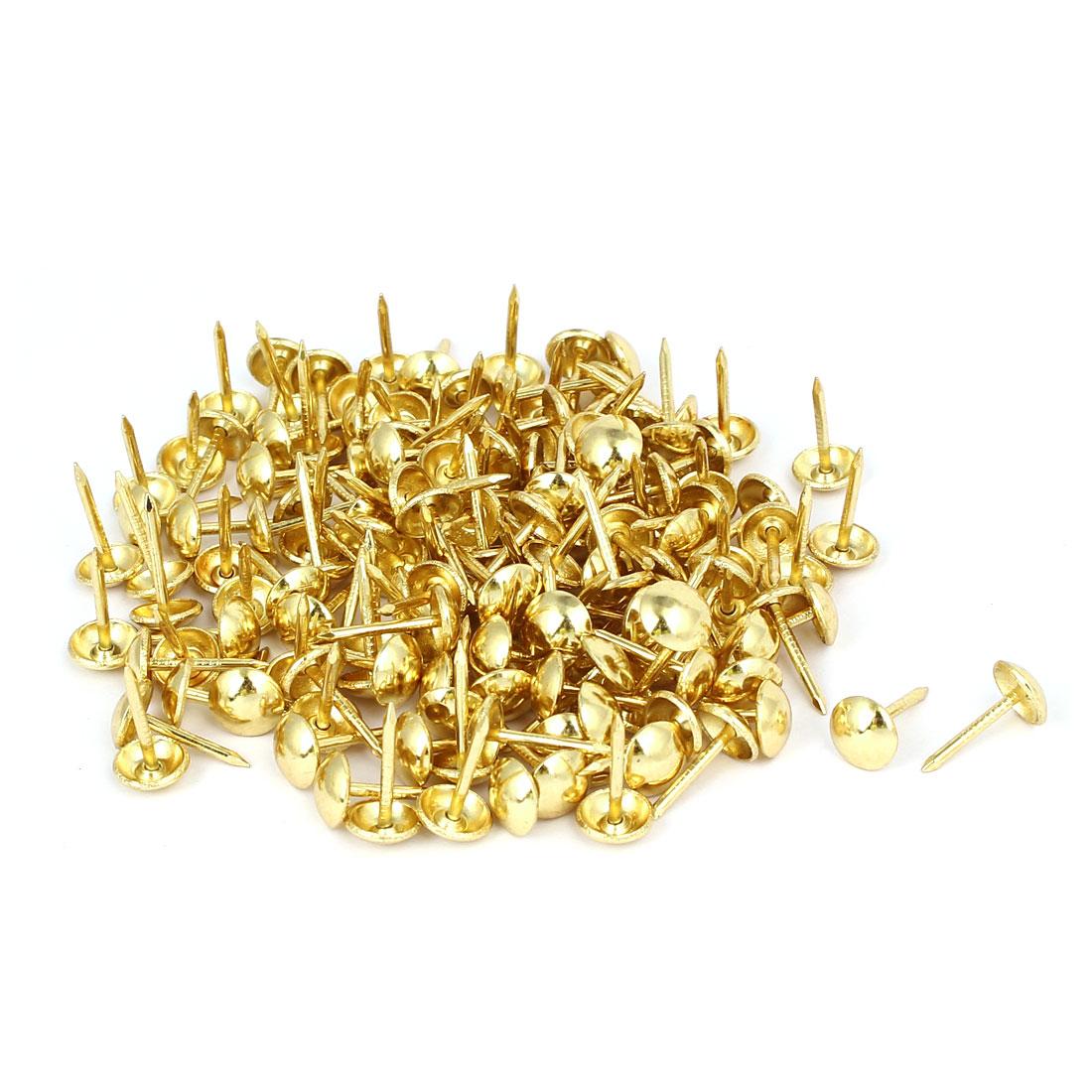 Home Furniture Upholstery Thumb Tack Nail Push Pin Gold Tone 8mm x 15mm 150pcs