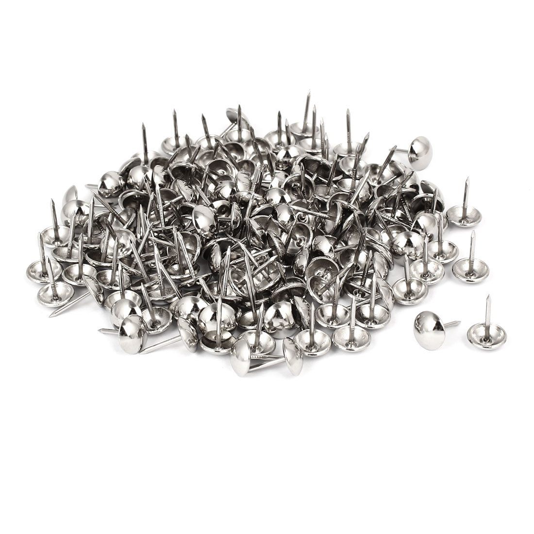 "7/16"" Head Dia 17mm Height Upholstery Nail Thumb Tacks Push Pin Silver Tone 200pcs"