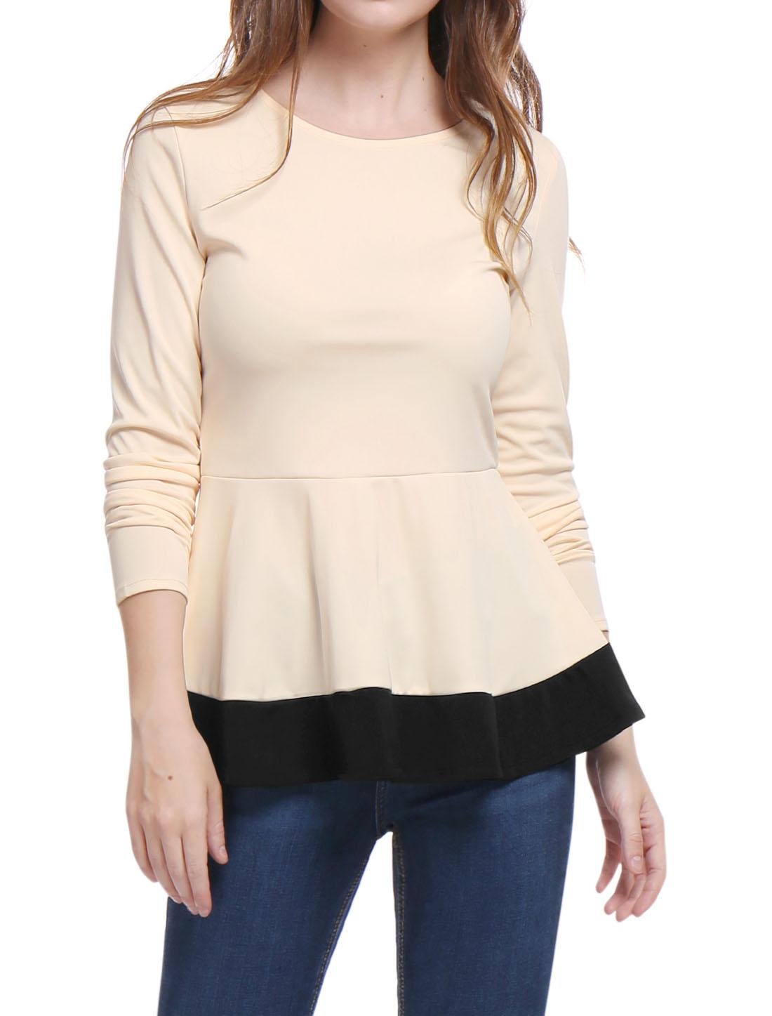 Allegra K Women Long Sleeves Color Block Ruffled Peplum Blouse Beige S