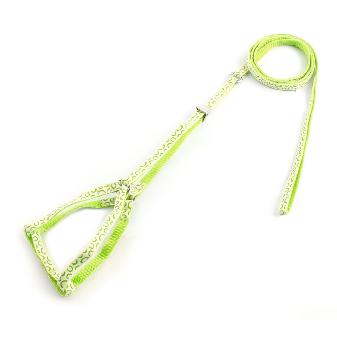 Dog Outdoor Walking Dots Pattern Adjustable Chest Strap Rope Harness Leash Green