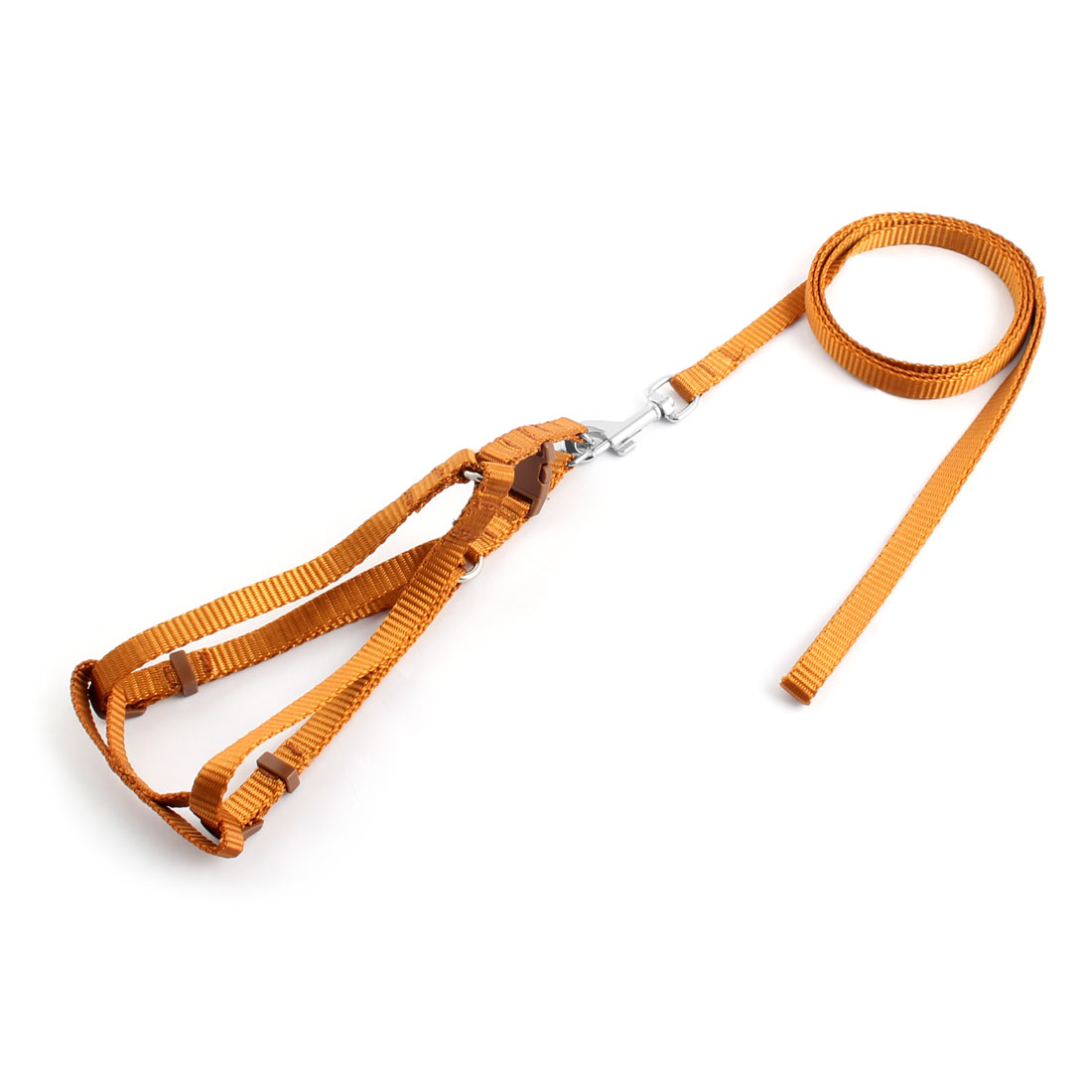 Dog Nylon Buckle Design Adjustable Strap Rope Lead Collar Set Harness Leash Brown