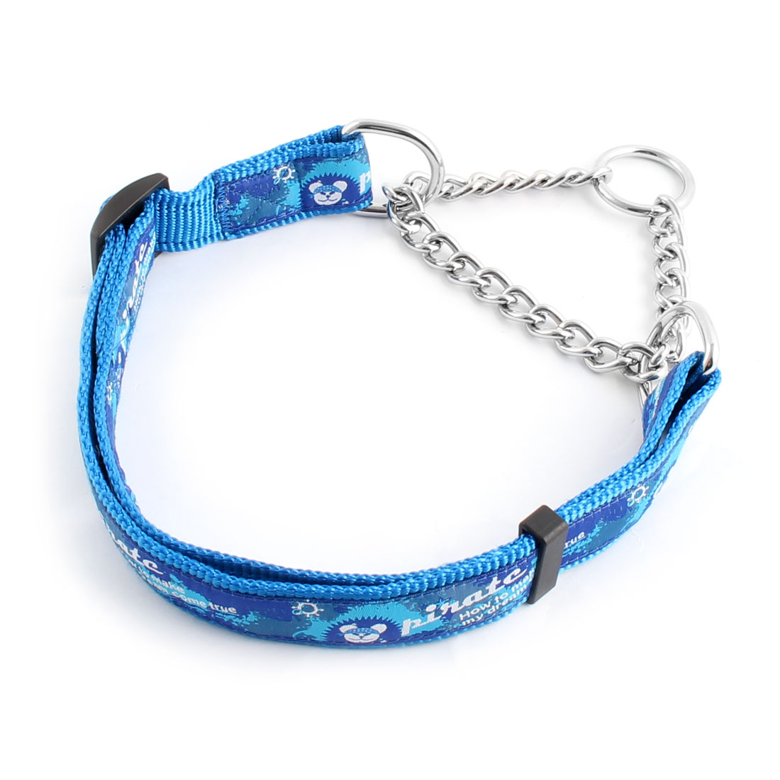 Dog Outdoor Nylon Rope Pirate Pattern Adjustable Neck Chain Decor Leash Blue