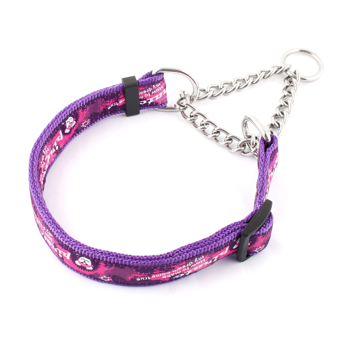 Dog Outdoor Nylon Rope Pirate Pattern Adjustable Neck Chain Decor Leash Purple