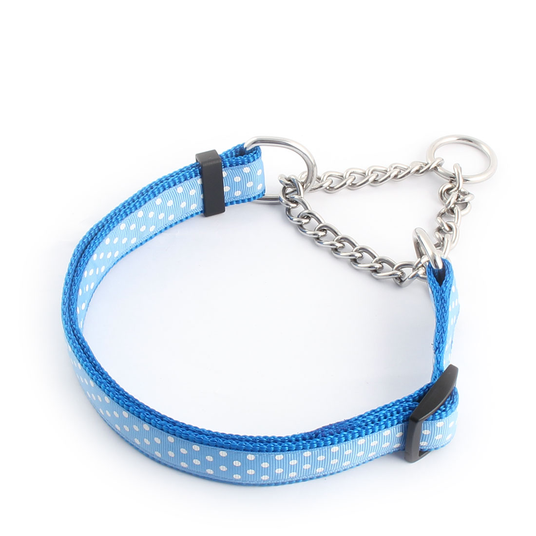 Pet Outdoor Polka Dot Print Adjustable Traction Rope Dog Neck Chain Leash Blue