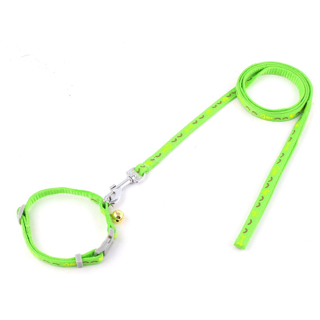 Puppy Dog Bone Pattern Bell Decor Walking Training Lead Collar Rope Leash Green