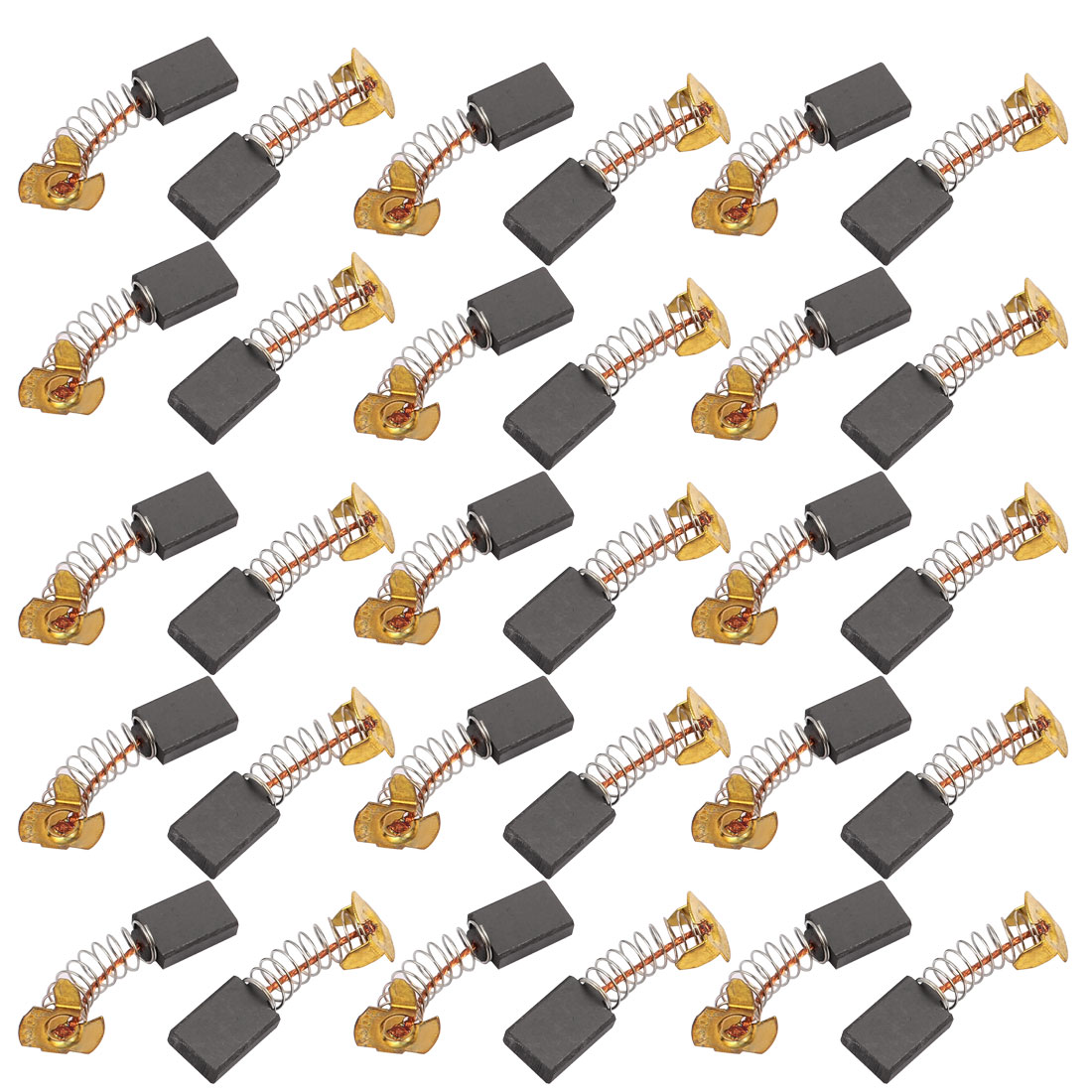 15 Pairs Electric Drill Motor Tool Carbon Brush 5 x 11 x 15mm Brass Tone w Spring
