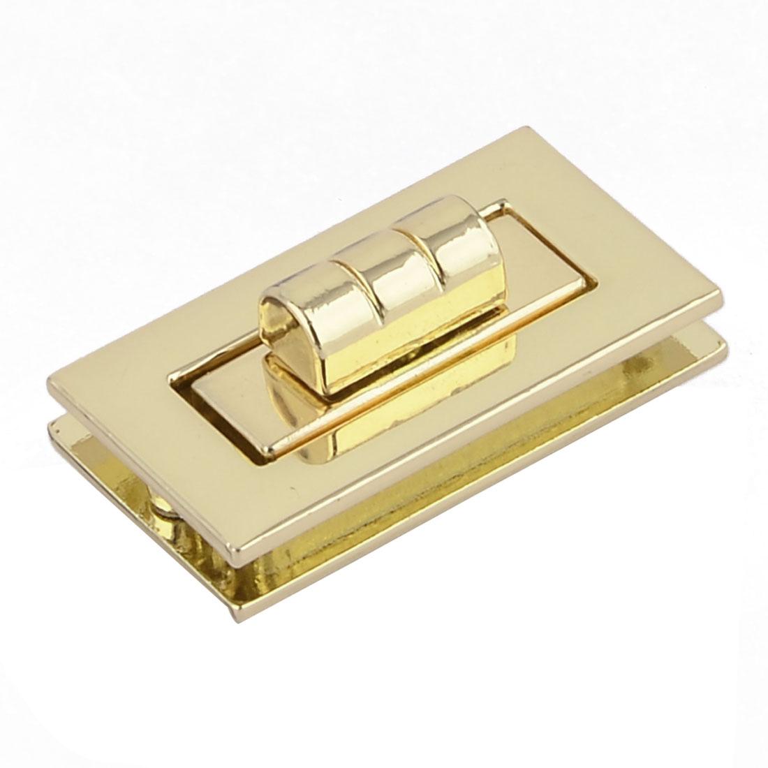 "Luggage Clothing Metal Rectangle Shaped Lock 1.1"" x 0.43"" Inside Size Gold Tone"