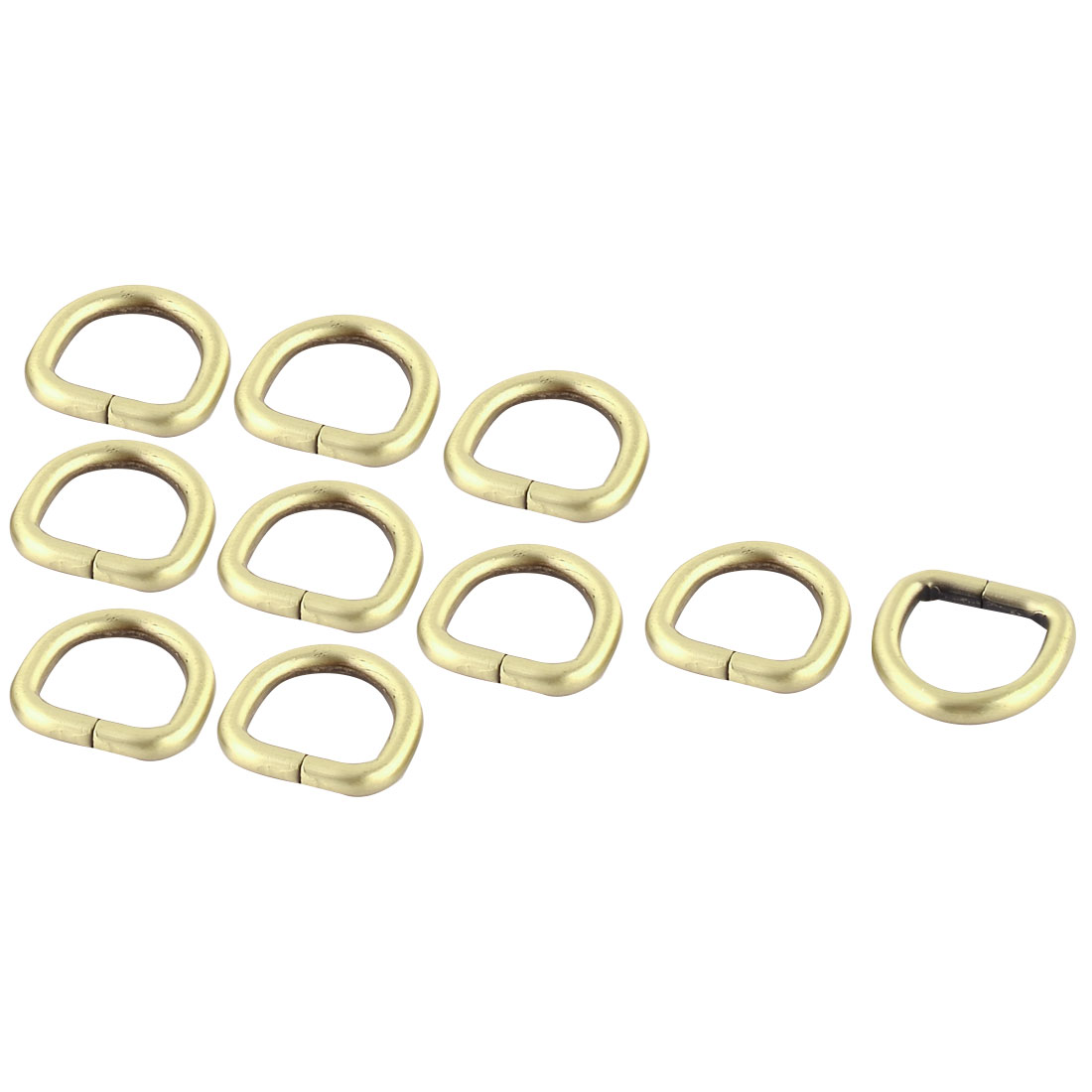 """Luggage Metal D Shaped Ring Buckle 0.8"""" x 0.75"""" Inside Size Bronze Tone 10 Pcs"""