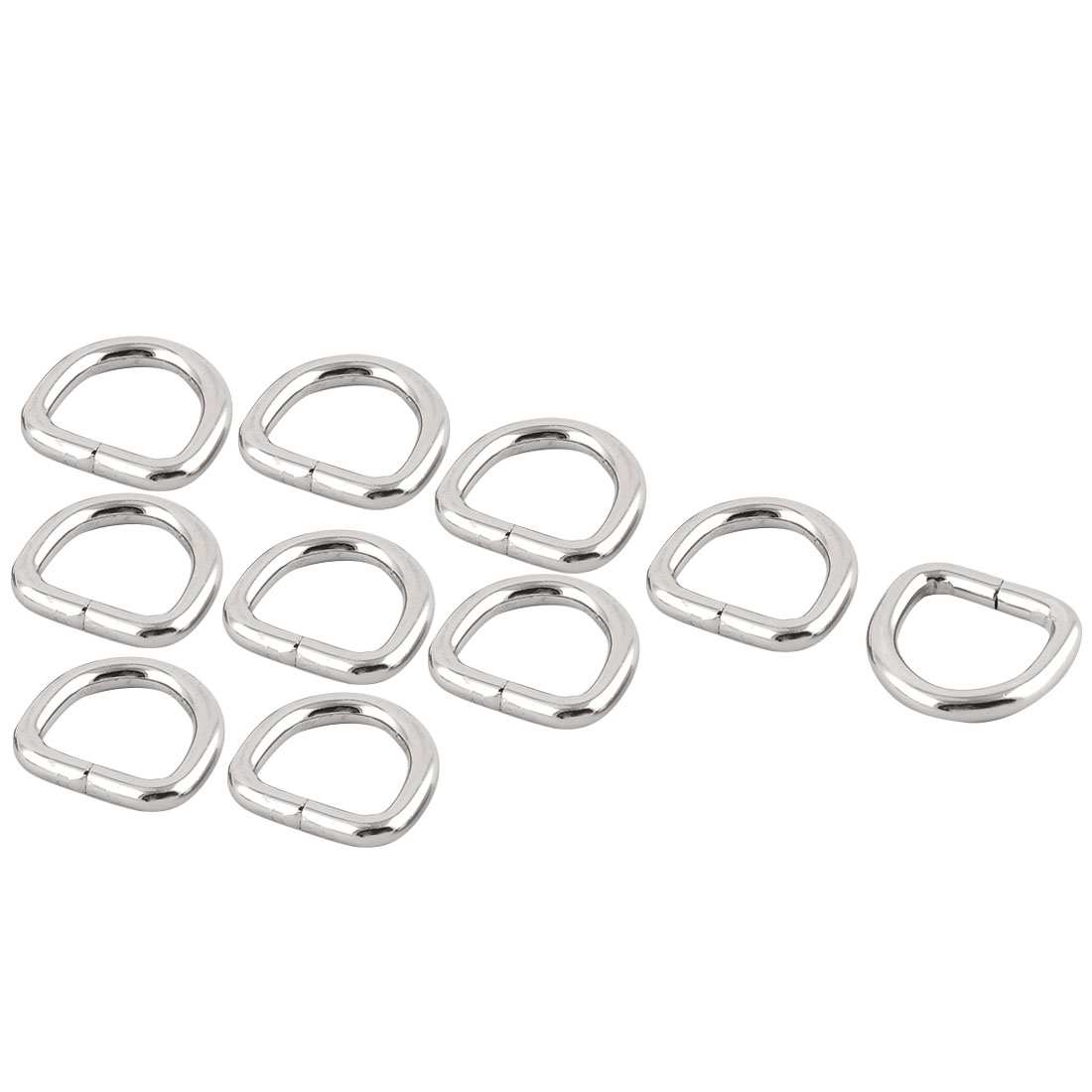 "Handbag Metal D Shaped Ring Buckle 0.8"" x 0.75"" Inside Size Silver Tone 10 Pcs"
