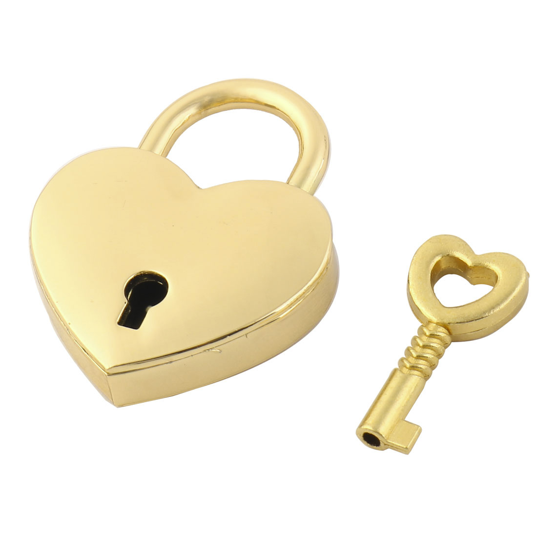 Luggage Bag Metal Heart Shaped Security Lock Padlock Gold Tone w Skeleton Key