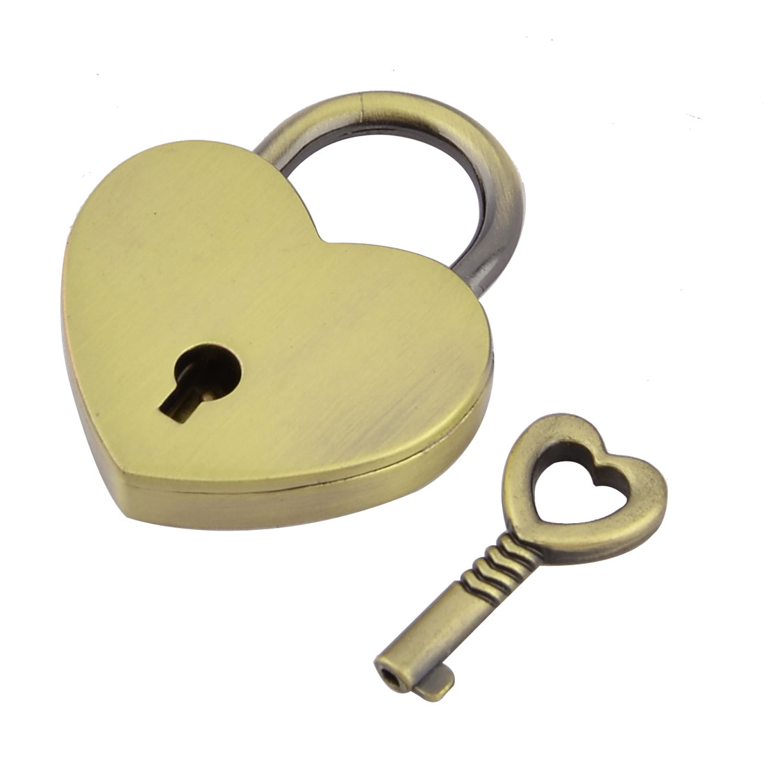 Luggage Cabinet Metal Heart Shaped Security Lock Padlock Copper Colored w Skeleton Key
