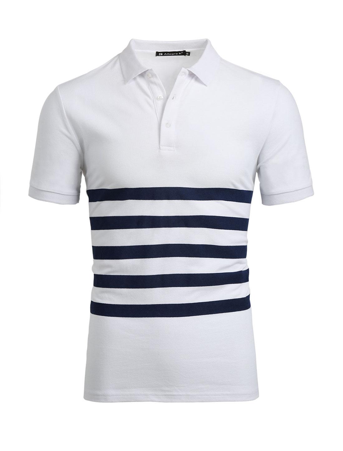 Men Half Placket Buttoned Short Sleeves Stripes Tee Shirt White S