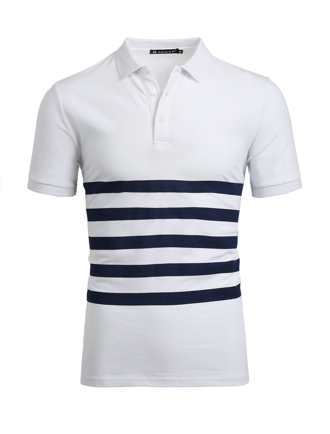 Men Half Placket Buttoned Short Sleeves Stripes Tee Shirt White L