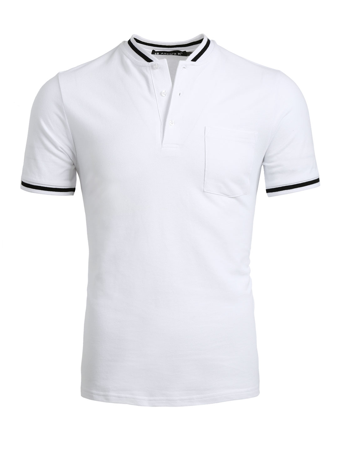 Men Half Placket Buttoned Chest Pocket Short Sleeves Tee White S